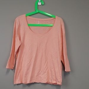 NY & C Pink 3/4 Sleeve Scoop Neck Top